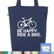 Jutebeutel - Be happy ride a bike